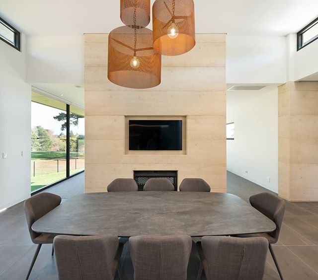 Dining Light! Featured above the dining table are custom made corten pendant shades, perforated in texture to soften the material internally.  Interiors by us, architecture by @design_unity, built by #herbelconstructions 📷 by #matthewmallett  #martinjscottdesign #mjs #residentialdesign