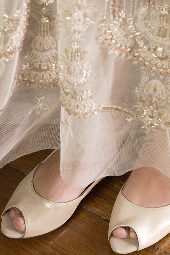 SIENNA 3 Gold Shimmer Gwendolynne Preston Zly Wedding Shoes front with Marrissa dress.jpg
