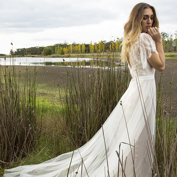 Sparrow Gwendolynne Wedding Dress front long shot in Reeds Lake Sault Daylesford SIDE LOW RES .jpg