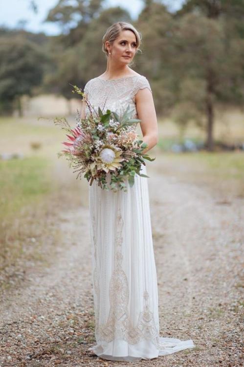 Lucy wearing a custom Jasmine gown Gwendolynne Image: www.looptheloop.com.au