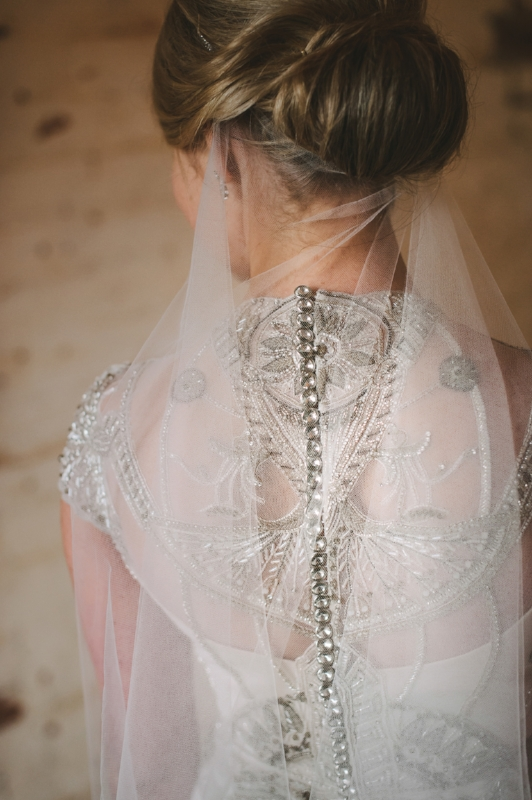 Anna wearing the Gwendolynne Polly wedding dress - image: Lucy Spartalis