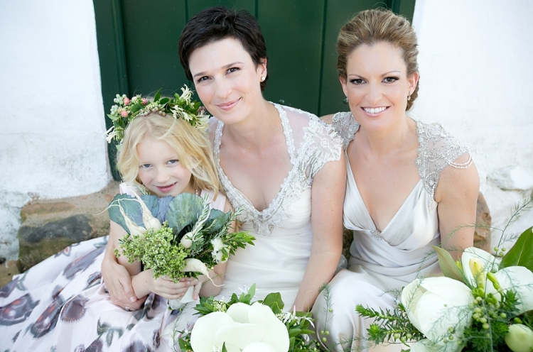 Loren and Christelle wearing the Belinda and Lace Gabby wedding gowns - image: Monica Dart Photographer