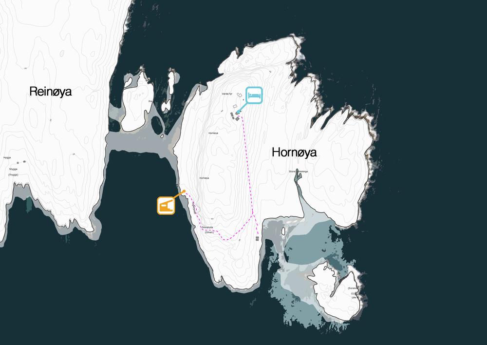 Dette kartet viser de tillatte stiene fra båthavna til fyret.