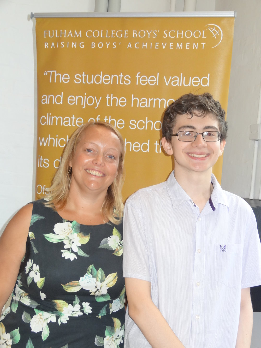 HEAD OF SCHOOL, SALLY BROOKS, WITH HEAD BOY, YOSEF MECHTI