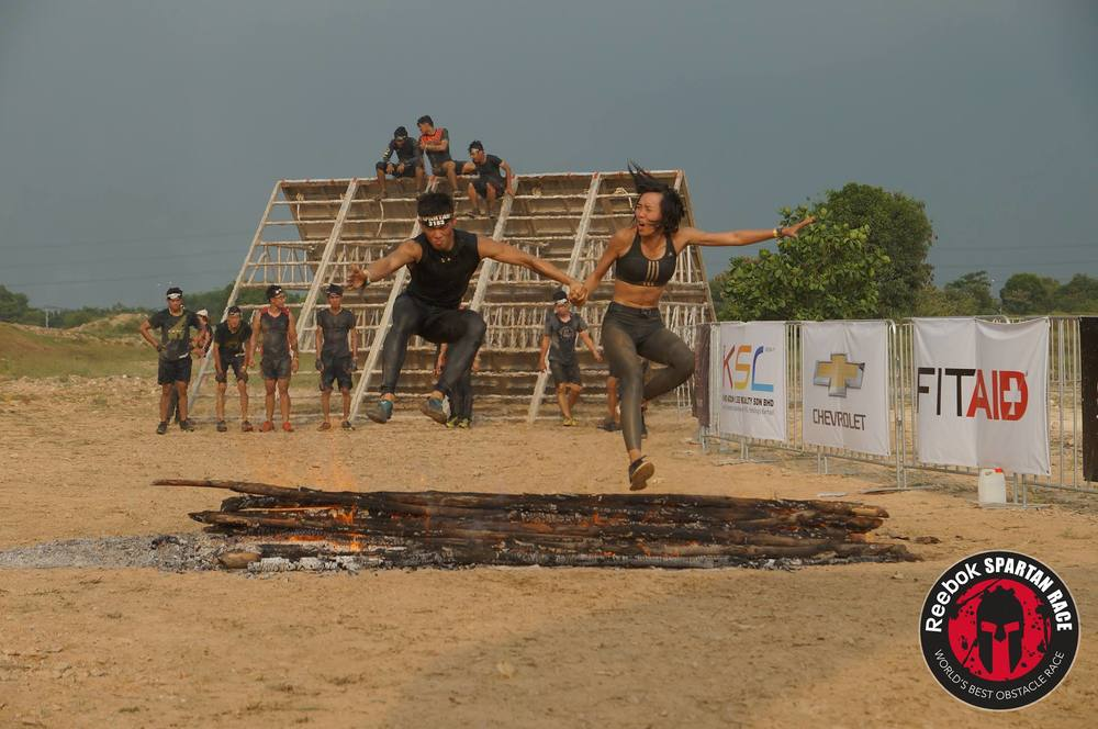 Jumping over the intense fire pit. Spartan Super Malaysia '16.