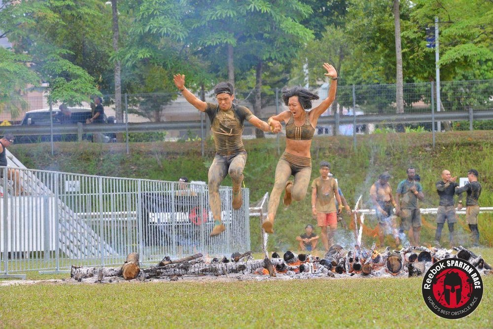 Jumping over the intense fire pit. Spartan Beast Malaysia '16.