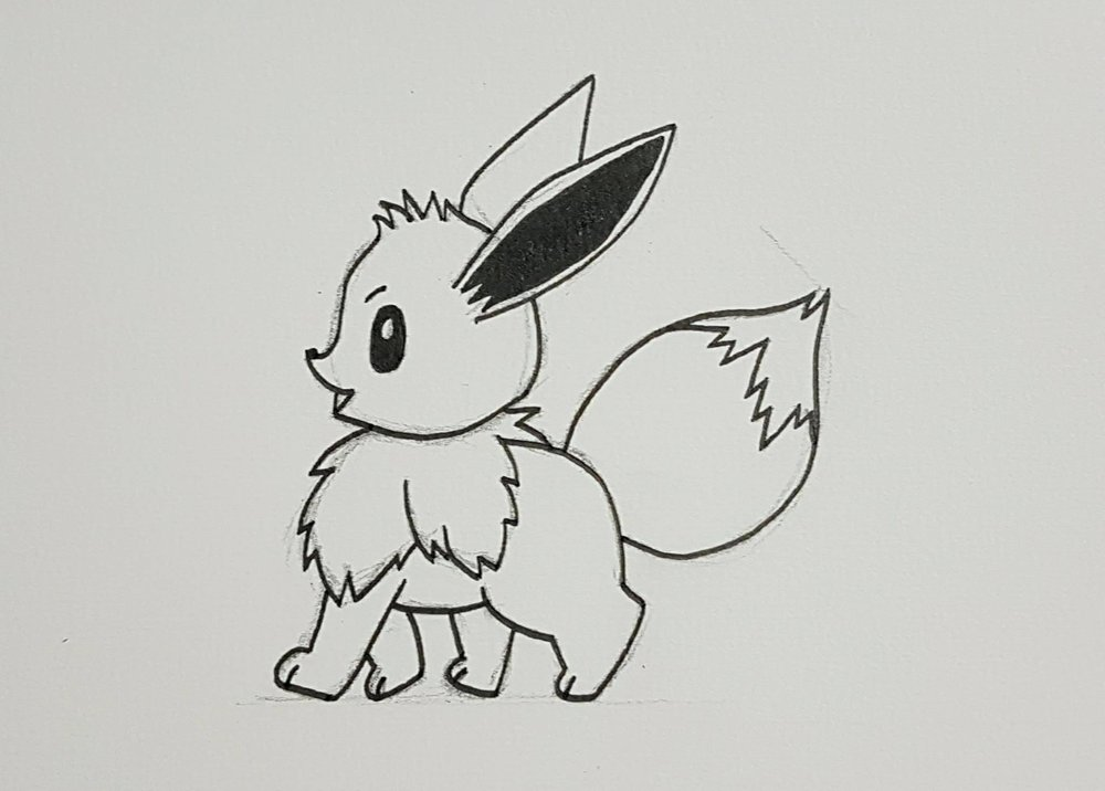 Eeevee sketch with reference from a sticker. Eevees are cute.