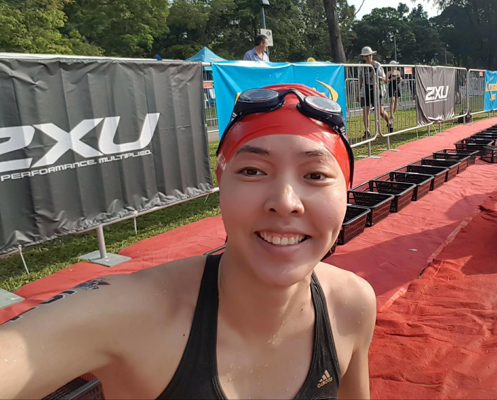 After the 1.5KM swim, in the transition area.