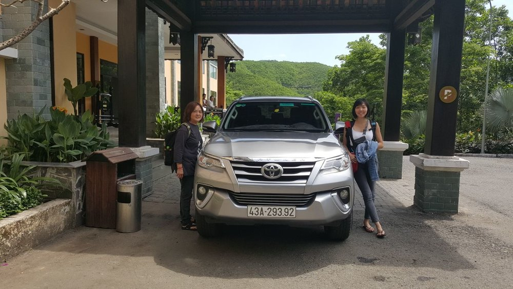 The powerful and tall 4WD Toyota Fortuner. I appreciated the space amd height,Our local driver was punctual and pleasant. This was at the foot of Ba Na hills -Not the place we were going. We eventually took another Grab up to the Hot Springs Park (30 minutes away).