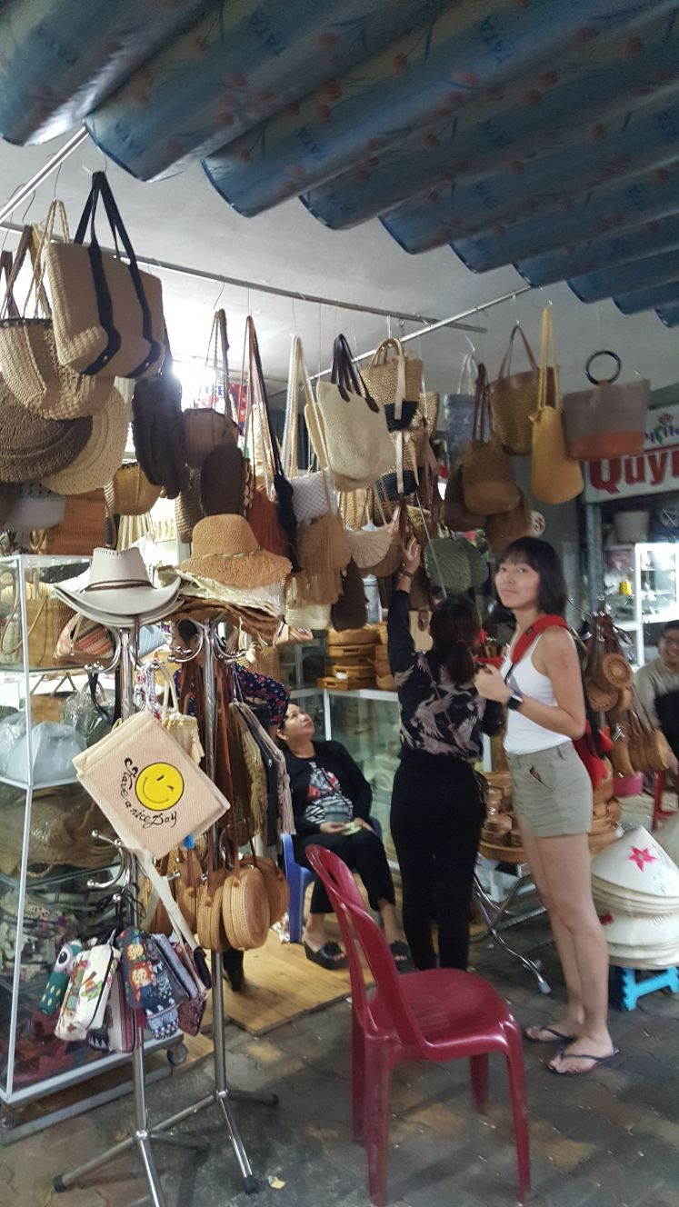 Shopping for bags at Han Market.