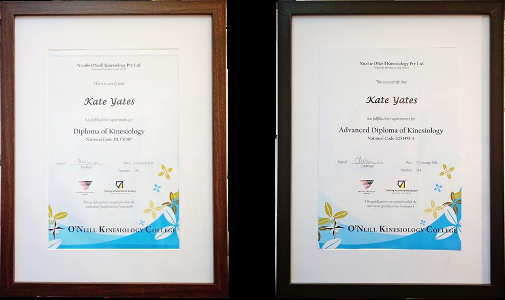 Registered Kinesiologist Kate Yates Diplomas