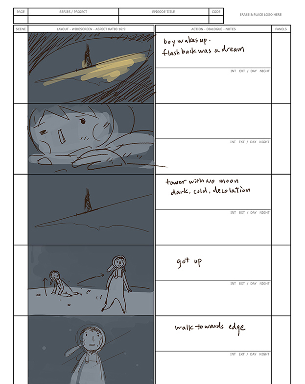 Example of one completed storyboard