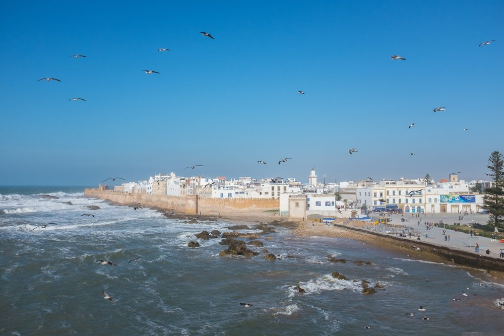 View of Essaouira city from the fishing port.