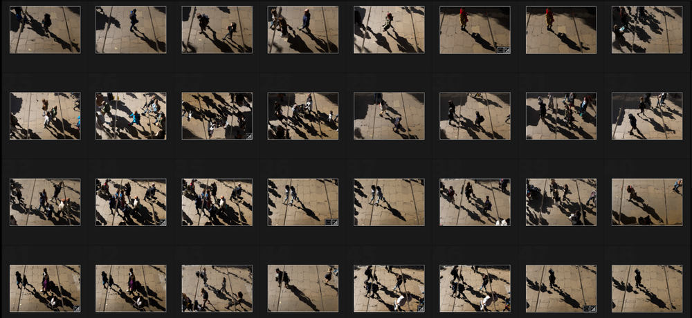 Contact sheet of some of the shots from the series.