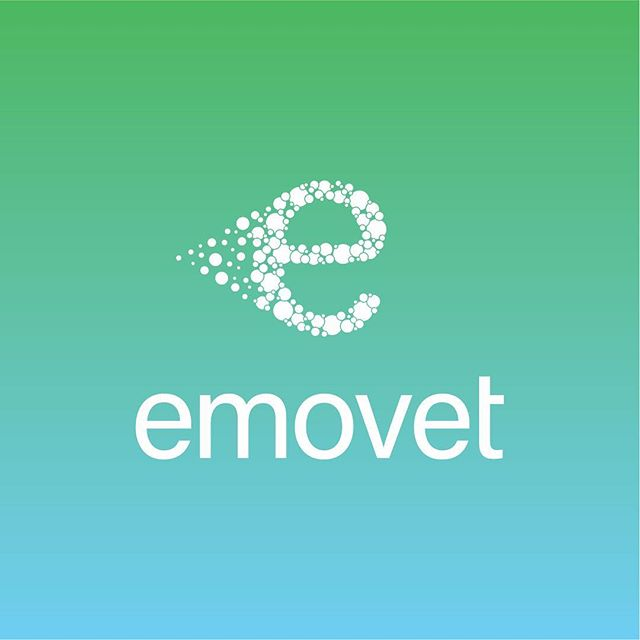 EmoVet is an antiseptic spray for pets. The logo is made up of small bubbles forming the letter 'e' while mimicking the spray given off from an aerosol can.