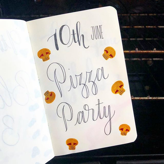 If I didn't make an effort to diversify my days, pizza would always be the main event 🍕 . . . #pizza #alldayeveryday #getinmybelly #journal #handlettering #mushrooms