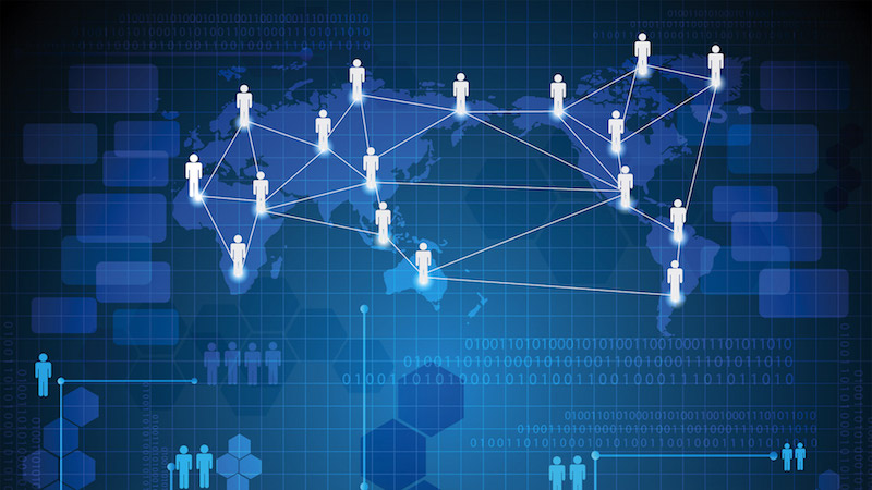 Cover image from column: A network of people spanning the world.