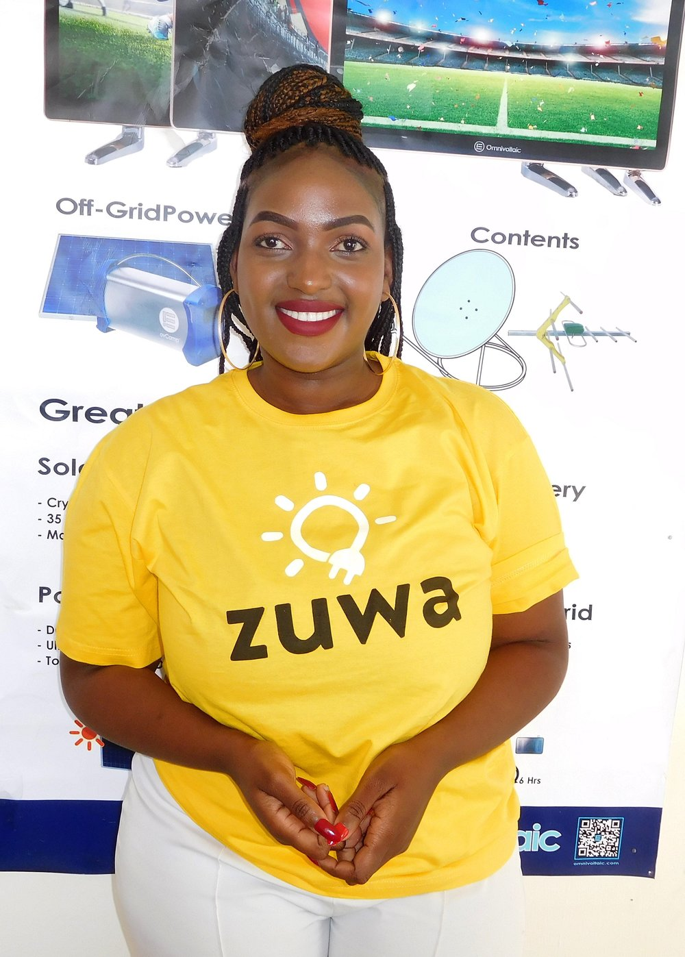 """Cynthia Domoya - """"I am a student at Pentecostal life University studying community development. I became first a Zuwa sales representative, then an agent because of my passion to meet and interact with different people and this job gives me the chance to do that. I also love selling Zuwa products because I represent a great brand that has products that are unique i.e. last long hours when fully charged and are affordable to everyone."""""""