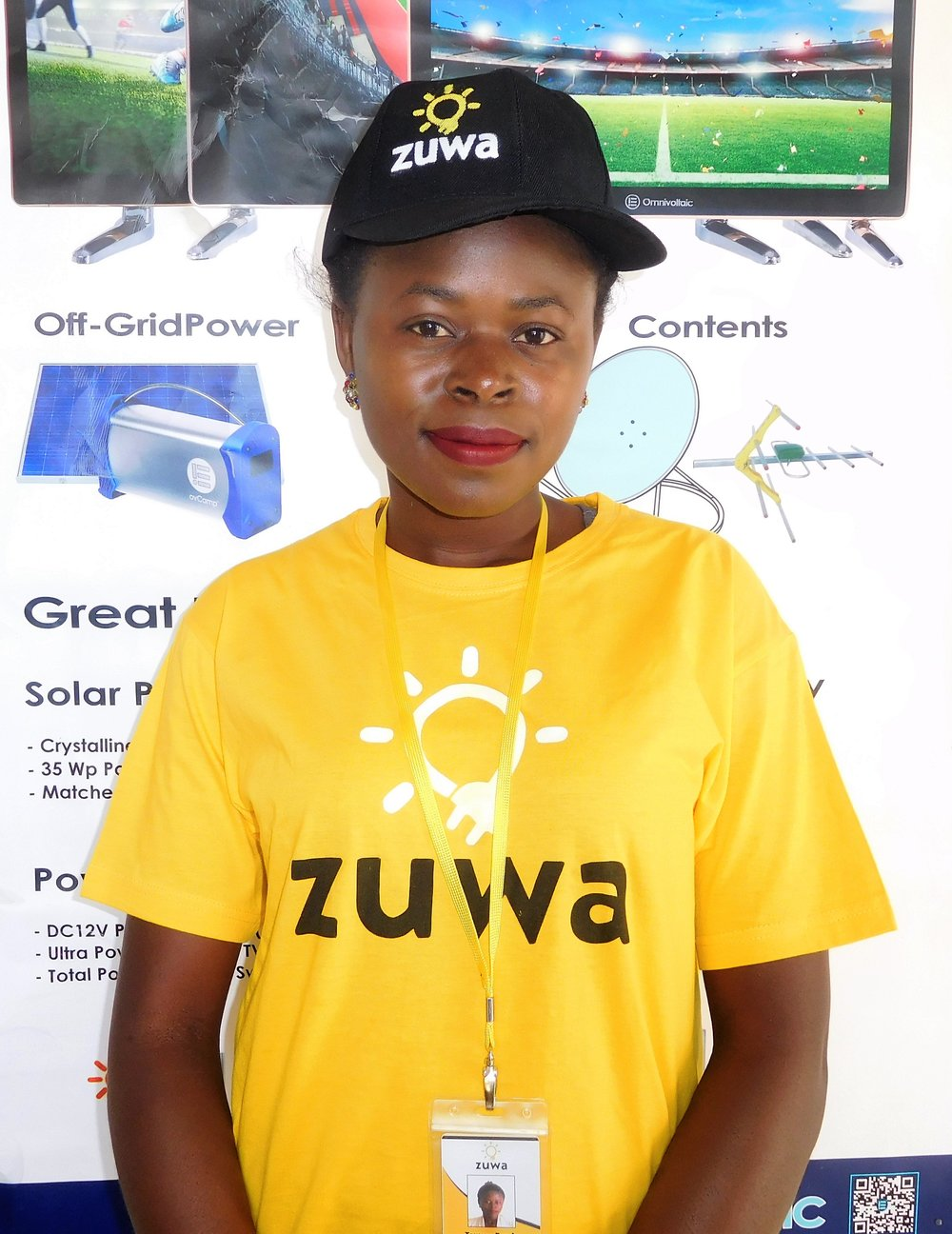 """Towera Banda - """"I am a married business woman, aged 26 and a mother of one, staying in Lilongwe, Area 23. I became a Zuwa agent because of my passion in sales and marketing and being Zuwa's agent meant that not only do I get to practice that, but I get to sell and install the best products. Zuwa's products are simply unique and I love the fact that they reach out not only to the people in urban areas, but to those in rural and off grid areas as well."""""""
