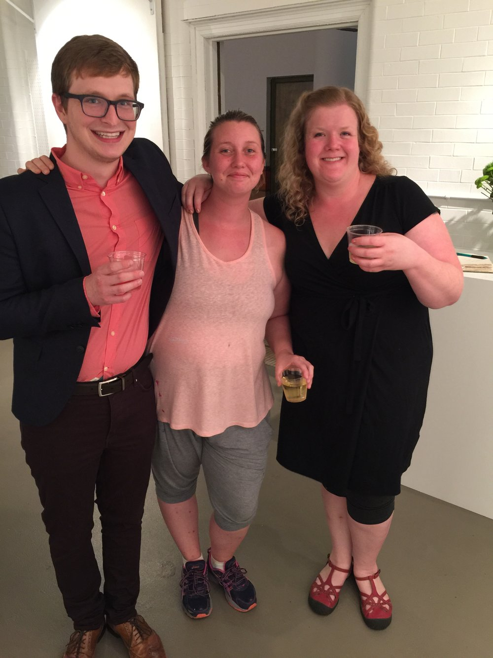 Exhibition shot, Micah Zavacky, MFA candidate in painting Megan Coonelly, and Laura Newman.
