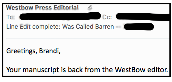 Email of the edited manuscript and a letter from my editor