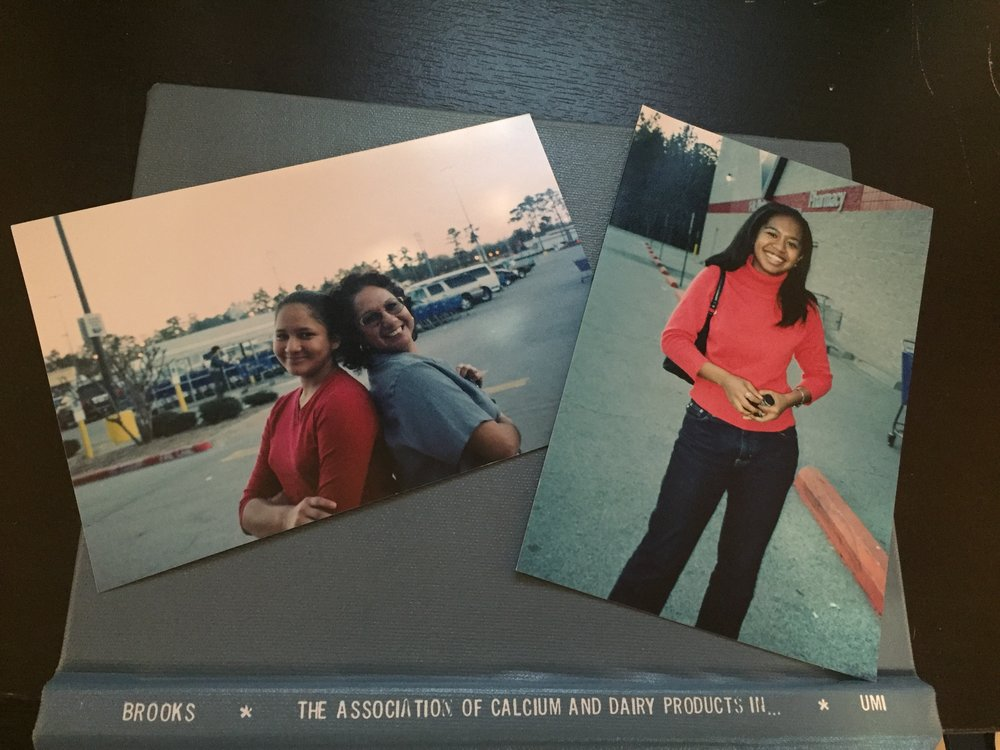I couldn't find a picture of the halfway cake, but found these pictures of my cousin, my tía, and me during graduate school.  Plus I dusted off my thesis from the bookshelf.