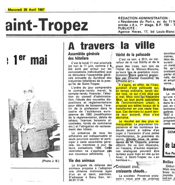 Saint Tropez, 29 avril 1987