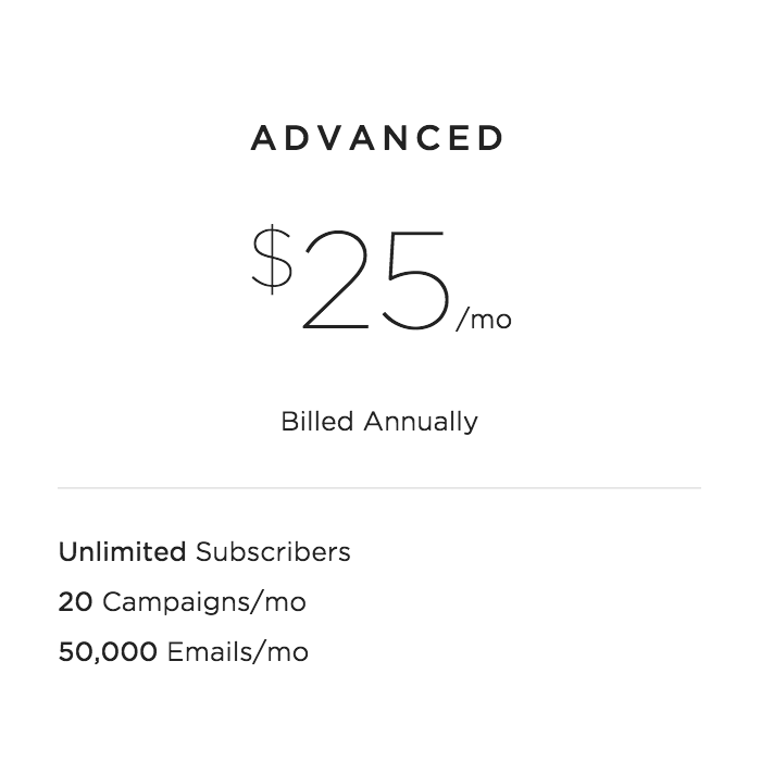 Squarespace email marketing tool Pricing