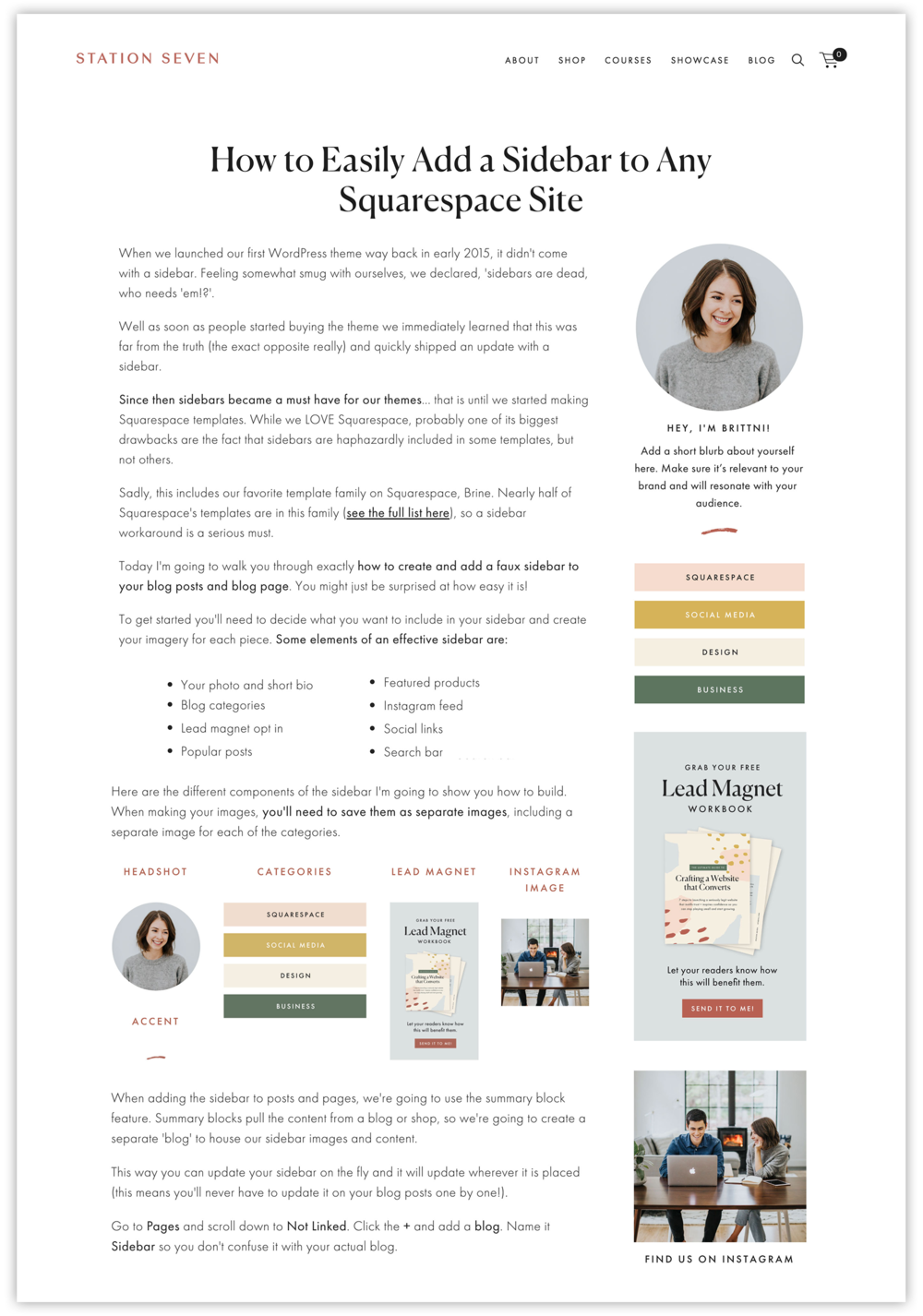 """How to Easily Add a Sidebar to Any Squarespace Site"" by  Station Seven"