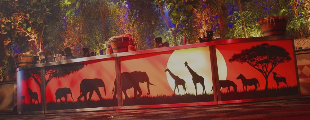 Vinyl print Bar - We can vinyl print any pattern, personal message or artwork on to the front of our pop-up bars to bring a theme to life with a striking visual effect.Get In Touch
