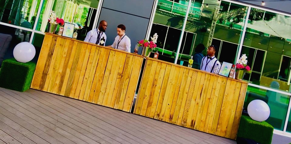 rustic WOODEN bar - The rustic wooden bar is perfect indoors or outdoors and works well as a gin bar or cocktail bar for a special occasion. These bars are available in two metre sections and are available in 2m up to 10m long. They can be built bespoke if you require a specific size or colour.Get in Touch