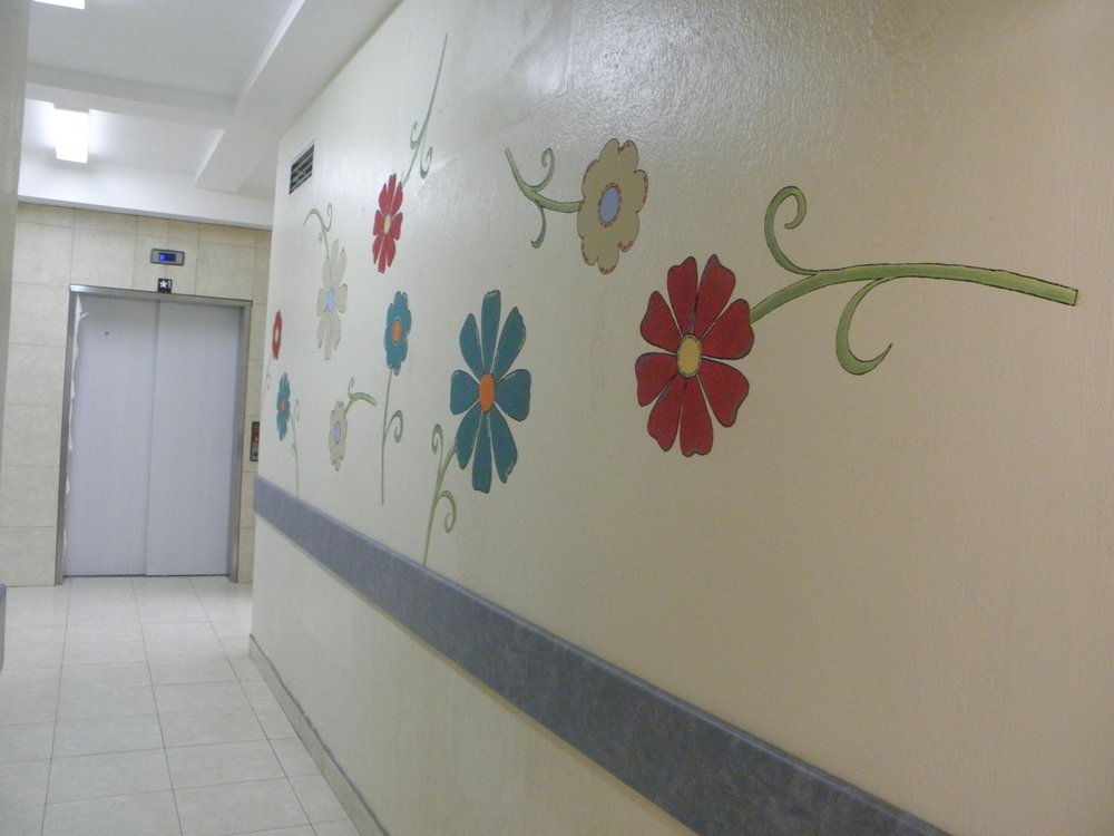 Hallway mural in The Moore Center