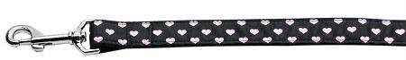 ( 4 ) Pink and Black Dotty Hearts Dog Leash 6 Foot Leash
