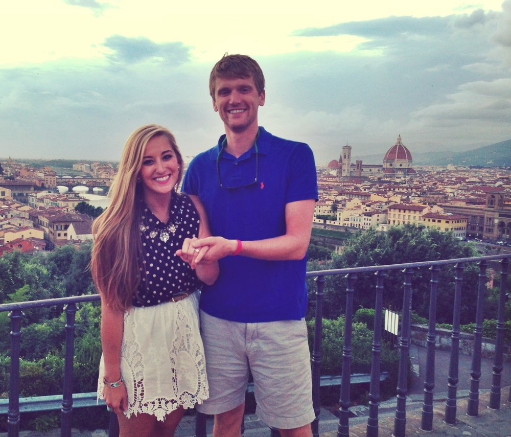 Right after John proposed at Piazza le Michaelangelo (my favorite spot in Florence!). Ignore the purple teeth... we had some red wine!