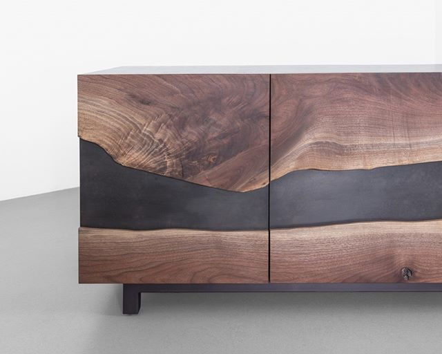 No better way to get 2019 organized than with a Summit Media Unit. At work or at home, hide your clutter or cords in style behind a live edge slab.  _________________________________________________  #liveedge #clarowalnut #slab #credenza #storage #luxury #cabinet #mediaunit #handmade #interiordesign #furniture #design #newamericandesign