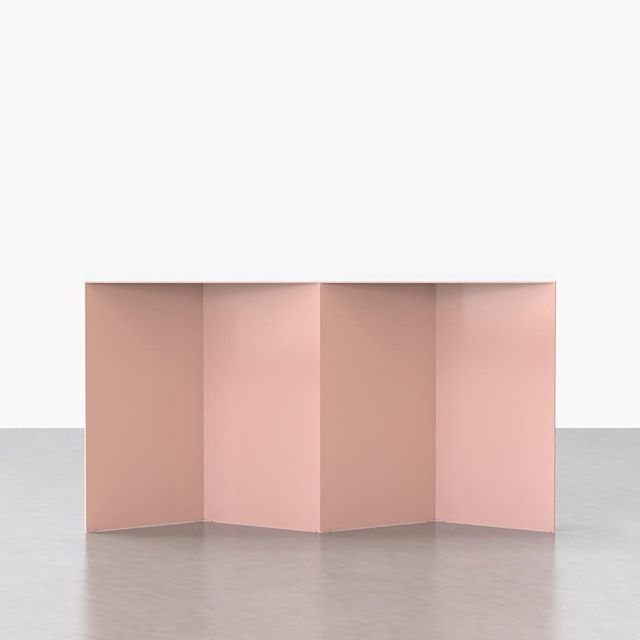 "Pink is not necessarily our ""signature color,"" but we embrace it 💗 Our Tack Console in Rose powder-coated steel.  _____________________________  #powdercoat #metal #minimal #design #console #pink #modern #furniture #newamericandesign ⠀ ⠀ ⠀ ⠀"