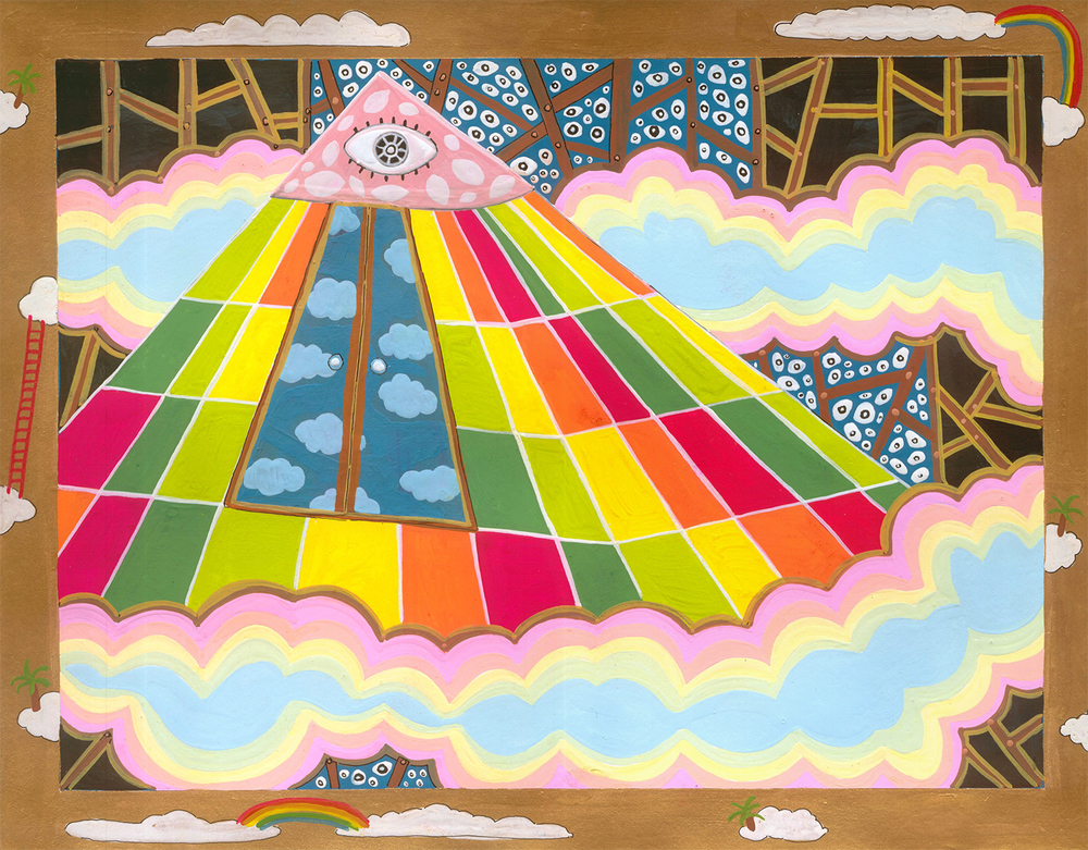 "Cartography of No Place Seven Wonders: Pyramid  Gouache on paper 10"" x 13""  2006"