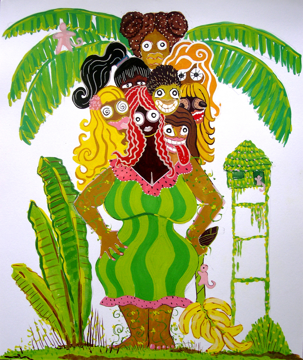 "Paradise Girl 1  Gouache on paper 17"" x 14"" 2005"