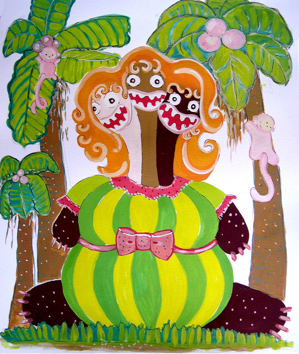 "Paradise Girl 3  Gouache on paper 17"" x 14"" 2005"