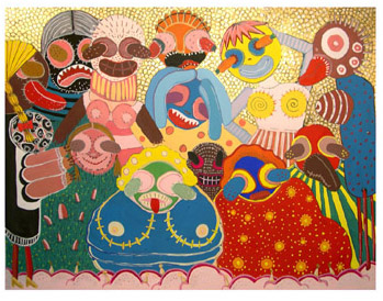 "Carnival Dancers  Gouache on paper 10"" x 13"" 2004"