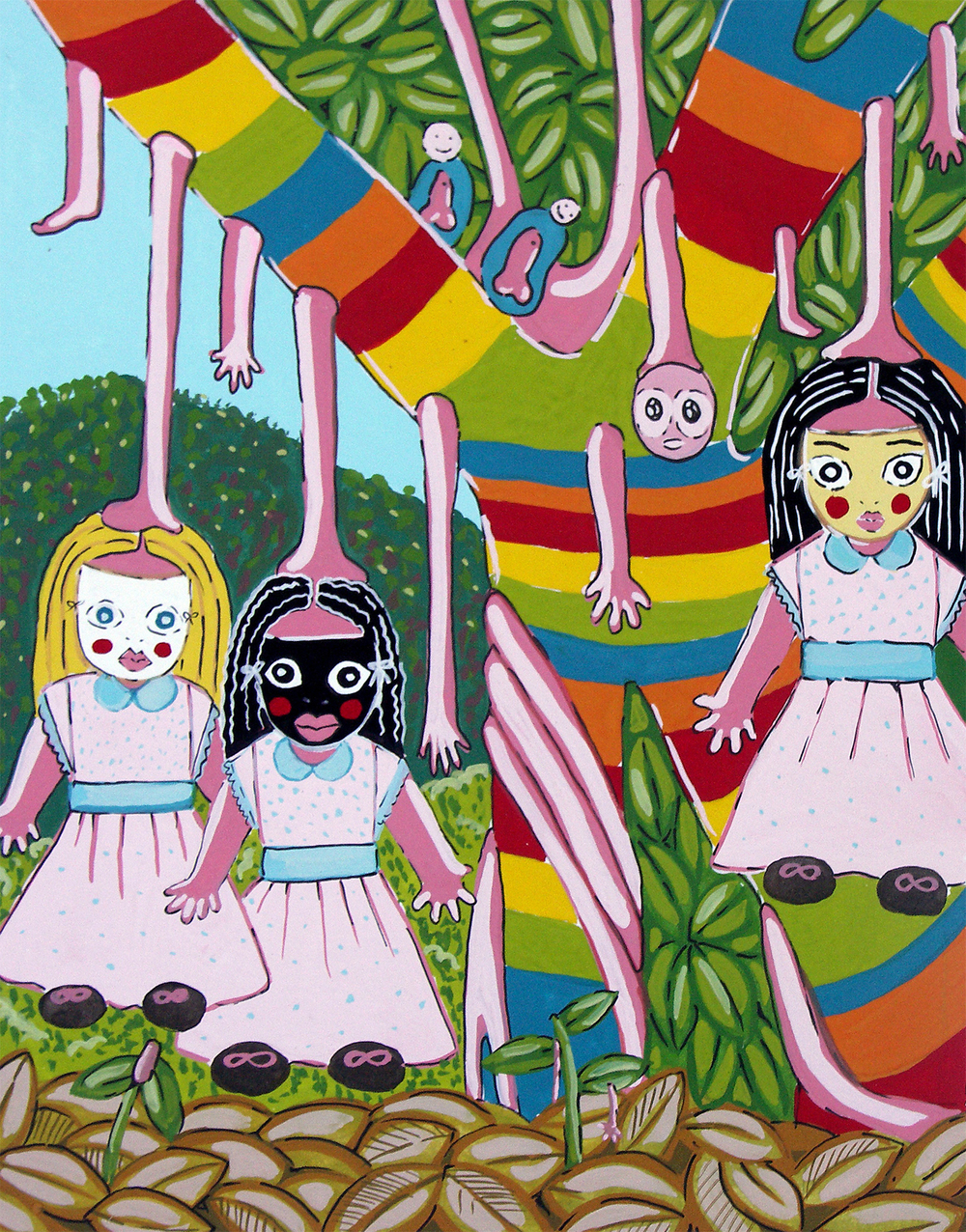 "Untitled (rainbow girl)  Gouache on paper 9"" x 8"" 2004"