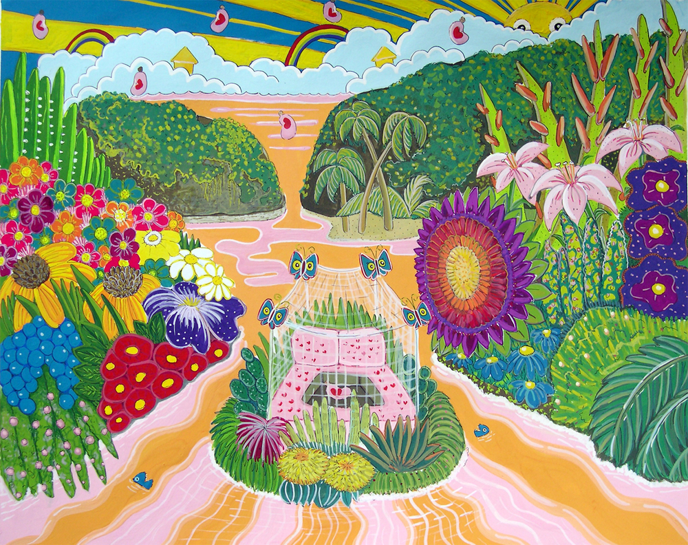 "Paradise Imagined  Gouache on paper 13"" x 16""  2004"