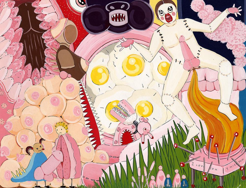 "De Constructing Desire  Gouache on paper  10"" x 13"" 2002"