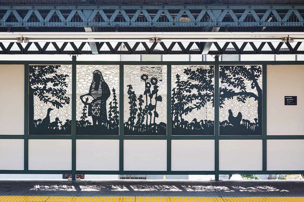 Urban Garden Rail  Installation View Laser Cut and Painted Stainless Steel Van Siclen and Pennsylvania Avenue Train Stations, NYC Seven Panels of a Twenty-Four Panel Commission for MTA Arts + Design 2017