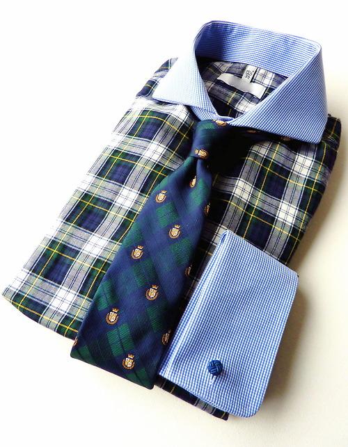 Tartan shirt & blue collar