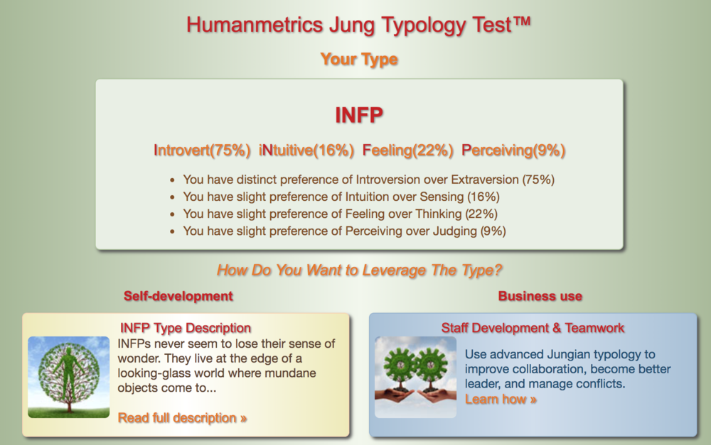 This is the  Jung Typology Test .