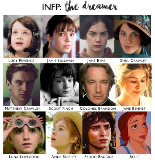 Fictional INFPs via  Pinterest .