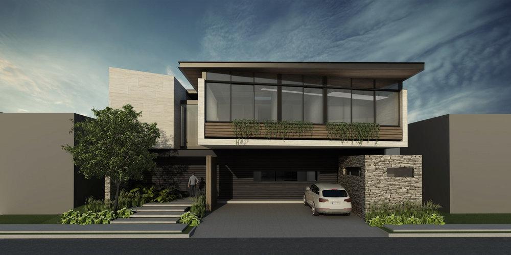 Casa XM- Fachada Frontal- Ventanal techo madera.jpg