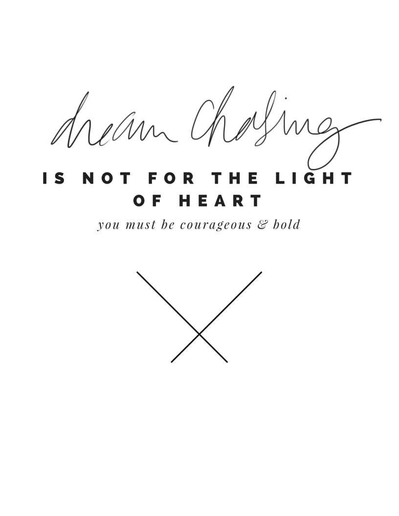CHASING DREAMS IS NOT FOR THE LIGHT OF HEART