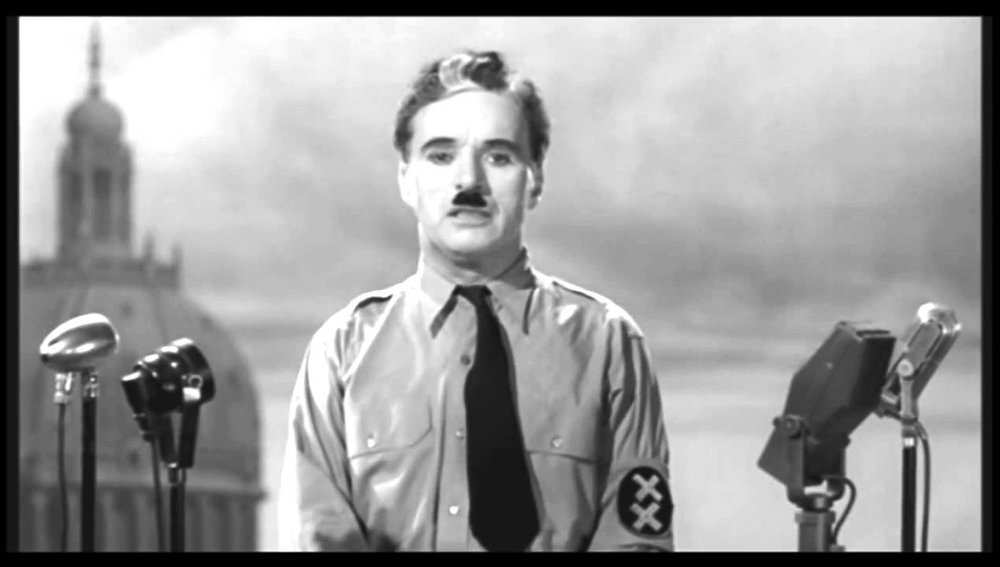 Chaplin as barber, dictator, and himself during the final speech.